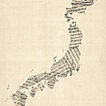 Old Sheet Music Map Of Japan by Michael Tompsett