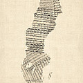 Old Sheet Music Map Of Sweden by Michael Tompsett