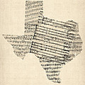 Old Sheet Music Map Of Texas by Michael Tompsett