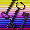 Old Skeleton Keys On Rows Of Colored Pencils by Garry Gay