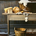 Old Wash Tub With Soap And Scrub Brushes by Sandra Cunningham