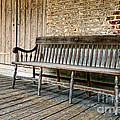 Old Wood Bench Print by Olivier Le Queinec