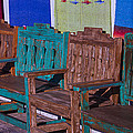Old Wooden Benches Print by Garry Gay