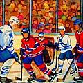 Olympic  Hockey Hopefuls  Painting By Montreal Hockey Artist Carole Spandau by Carole Spandau