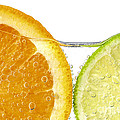 Orange And Lime Slices In Water by Elena Elisseeva