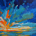 Orange Blue Sunset Landscape by Patricia Awapara