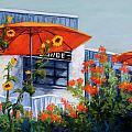 Orange Umbrellas by Candy Mayer