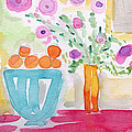 Oranges In Blue Bowl- Watercolor Painting by Linda Woods
