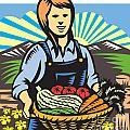 Organic Farmer Farm Produce Harvest Retro by Aloysius Patrimonio