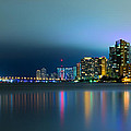 Overcast Miami Night Skyline by Andres Leon