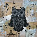 Owl On Burlap1 by Kyle Wood