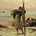 Oyster Catching by Pierre Celestin Billet