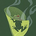 Pacific Tree Frog In Skunk Cabbage by Nathan Marcy