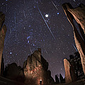 Painting The Needles Under The Geminids Meteor Shower by Mike Berenson