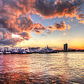 Palm Beach Harbor With West Palm Beach Skyline by Debra and Dave Vanderlaan