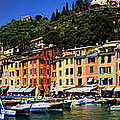 Panorama Of Portofino Harbour Italian Riviera by David Smith