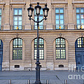 Paris Place Vendome Street Architecture Blue Doors And Street Lamps  by Kathy Fornal