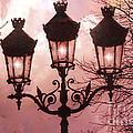 Paris Street Lanterns - Paris Romantic Dreamy Surreal Pink Paris Street Lamps  by Kathy Fornal