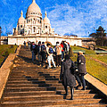 Paris - The Long Climb To Sacre Coeur by Mark E Tisdale