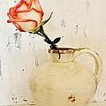 Peach Trim Rose In Pottery by Marsha Heiken