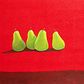 Pears On Red Cloth by Lincoln Seligman