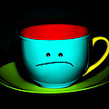Peeved Colorful Cup And Saucer by Natalie Kinnear