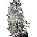 Pen and Ink Drawing of Sail Ship in Black and White
