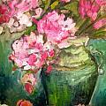 Peonies And Peaches by Carol Mangano