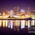 Peoria Illinois at Night Downtown Skyline Print by Paul Velgos