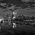 Philadelphia From South Street At Night In Black And White by Bill Cannon