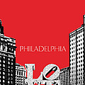Philadelphia Skyline Love Park - Red by DB Artist