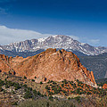 Pikes Peak Behind Garden Of The Gods by Ernie Echols