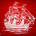 Pirate Ship Artwork - Red Print by Nikki Marie Smith