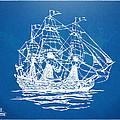 Pirate Ship Blueprint Artwork by Nikki Marie Smith