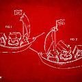 Pirate Ship Patent Artwork - Red by Nikki Marie Smith