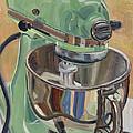 Pistachio Retro Designed Chrome Flour Mixer Print by Jennie Traill Schaeffer