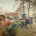 Place Du Theatre Francais Paris by Eugene Galien-Laloue