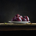 Plate With Plums by Mark Van crombrugge