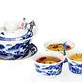 Playing Among Blue-and-white Porcelain Little People On Food by Paul Ge