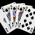 Playing Cards Royal Flush On Black Background by Natalie Kinnear