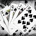 Playing Cards Royal Flush With Digital Border And Effects by Natalie Kinnear