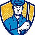 Policeman Police Officer Baton Shield Retro by Aloysius Patrimonio