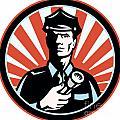 Policeman Security Guard With Flashlight Retro by Aloysius Patrimonio