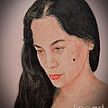 Portrait Of A Long Haired Filipina Beautfy With A Mole On Her Cheek Fade To Black Version by Jim Fitzpatrick