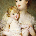 Portrait of the Duchess of St Albans with her Son Print by George Elgar Hicks