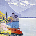 Poster Advertising Rail Travel Around Lake Geneva by Emil Cardinaux