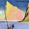Poster advertising the Gaspe peninsula Quebec Canada Print by Canadian School
