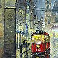 Praha Red Tram Mostecka str  Print by Yuriy  Shevchuk