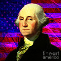 President George Washington v2 m123 square Print by Wingsdomain Art and Photography