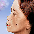 Profile Of A Filipina Beauty With A Mole On Her Cheek Altered Version by Jim Fitzpatrick